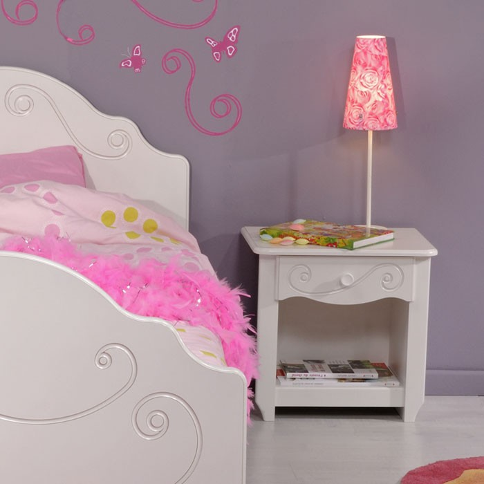 kinderbett anne 4 wei lackiert 90x200 mit nachttisch. Black Bedroom Furniture Sets. Home Design Ideas