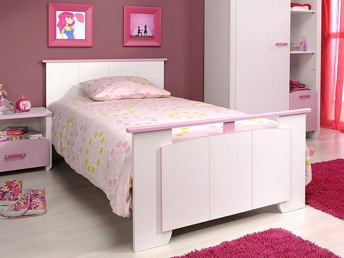 kinderbett 90x200cm wei rosa kinderzimmer singlebett jugendbett beauty ebay. Black Bedroom Furniture Sets. Home Design Ideas