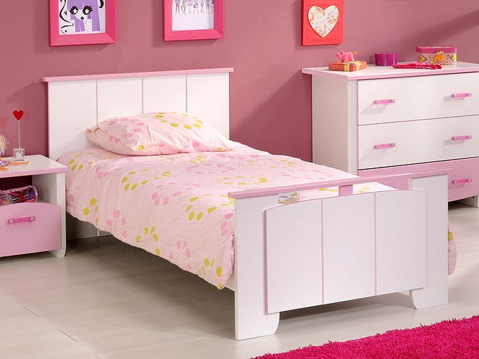 kinderbett beauty 12 wei rosa 90x200cm kinderzimmer. Black Bedroom Furniture Sets. Home Design Ideas