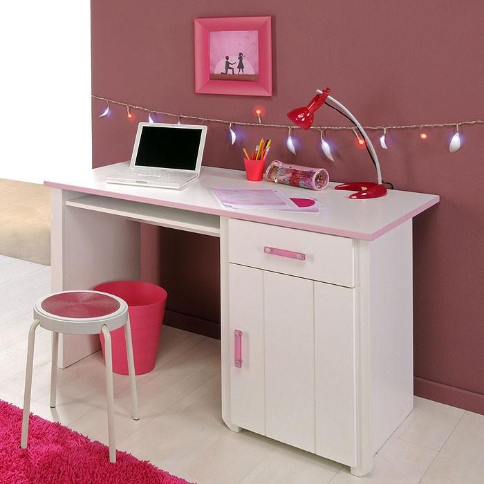 schreibtisch beauty 8, 121x77x65cm weiß rosa, bürotisch kinder