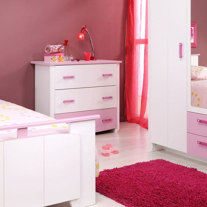 kommode beauty 10 90x79x45 cm wei rosa schubkastenkommode schrank wohnbereiche schlafzimmer. Black Bedroom Furniture Sets. Home Design Ideas