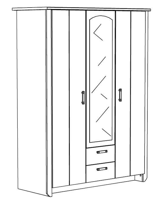 kleiderschrank beauty 11 136x181x56cm wei rosa 3 t rig. Black Bedroom Furniture Sets. Home Design Ideas