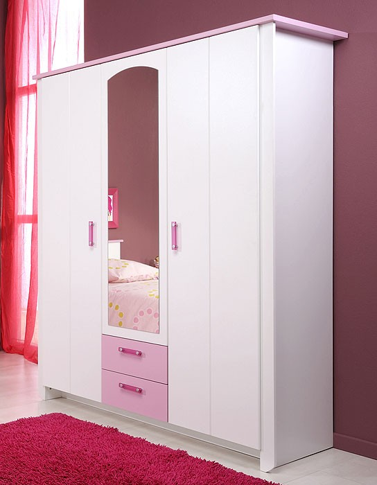 kleiderschrank beauty 11 136x181x56cm wei rosa 3 t rig wohnbereiche kinder jugendzimmer. Black Bedroom Furniture Sets. Home Design Ideas