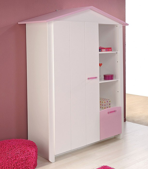 kleiderschrank wei rosa 112x181x60cm kinderzimmerschrank m dchen beauty 9 ebay. Black Bedroom Furniture Sets. Home Design Ideas