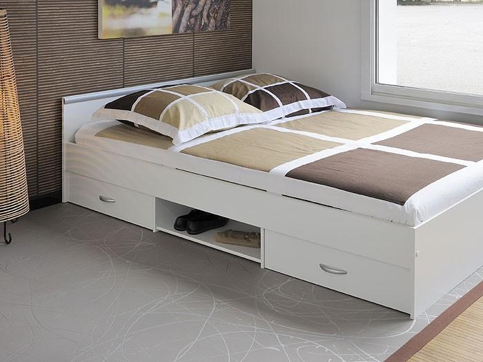 Jugendbett Bett 140x200cm mit 2 Bettkästen weiss
