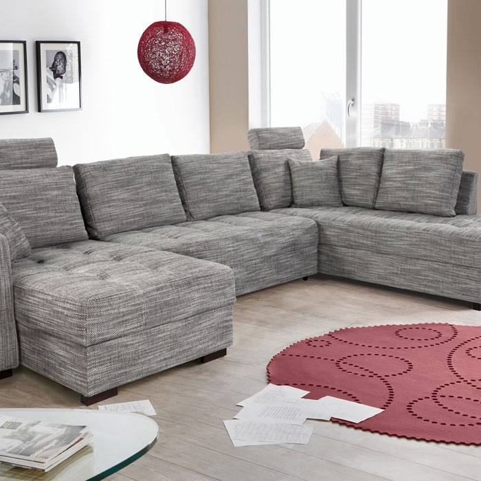 wohnlandschaft antigua grau 357x222x162cm bettfunktion sofa couch polsterecke ebay. Black Bedroom Furniture Sets. Home Design Ideas