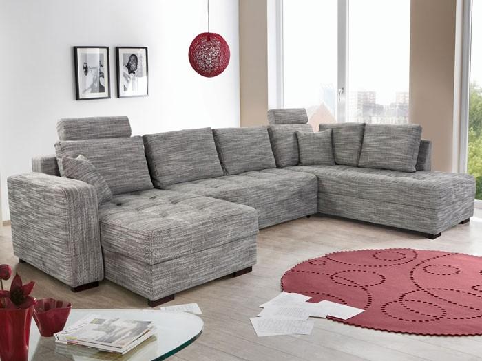 Wohnlandschaft Antigua Grau 357x222x162cm Bettfunktion Sofa Couch