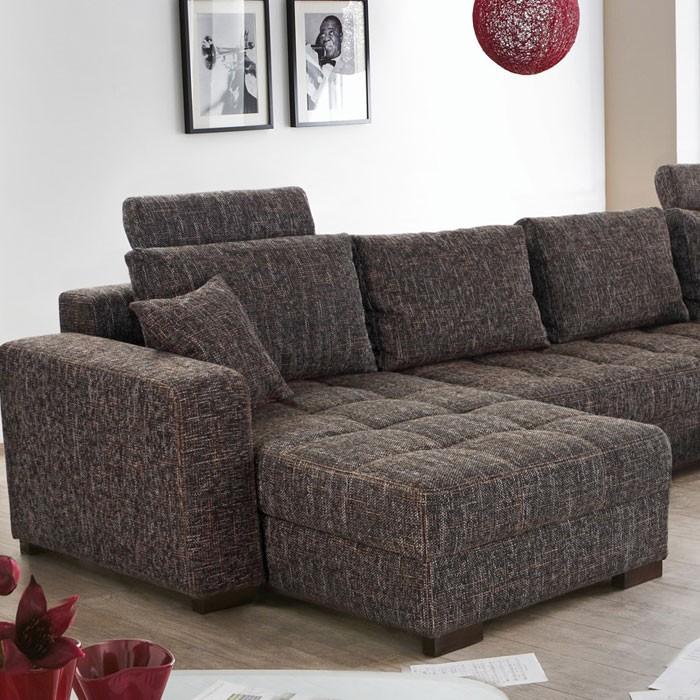 wohnlandschaft antigua braun-grau 357x222x162, bettfunktion sofa ... - Wohnzimmer Sofa Braun