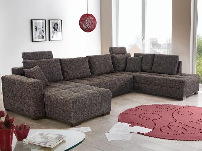 Wohnlandschaft antigua braun grau 357x222x162 for Sofa grau skandinavisch