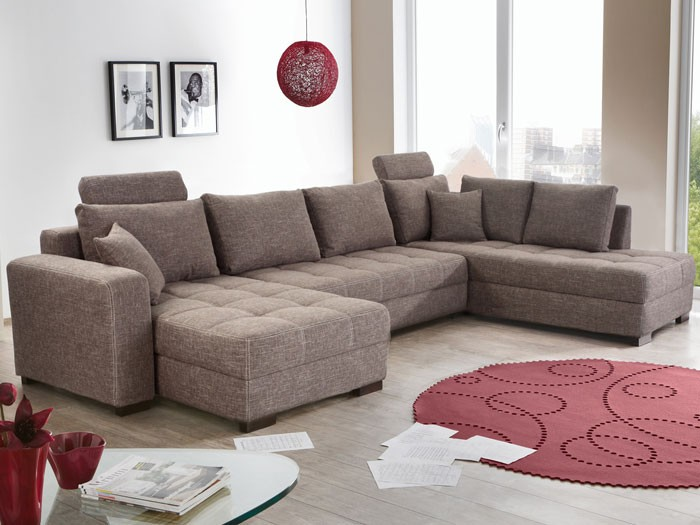 wohnlandschaft antigua grau braun 357x222x162 bettfunktion sofa couch wohnzimmer ebay. Black Bedroom Furniture Sets. Home Design Ideas