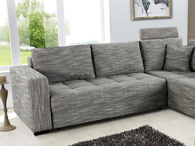 Polsterecke aurum grau 267x221cm bettfunktion sofa couch for Couch bettfunktion