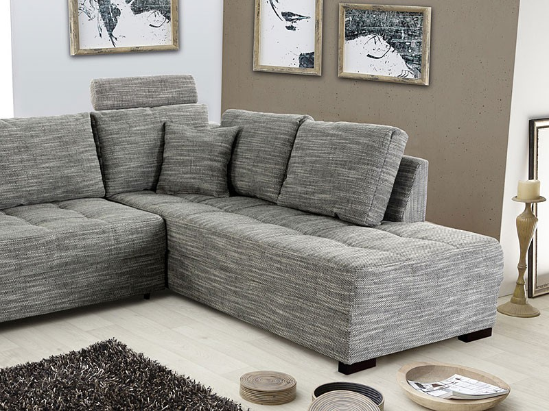 Polsterecke aurum grau 267x221cm bettfunktion sofa couch for Eckcouch sale