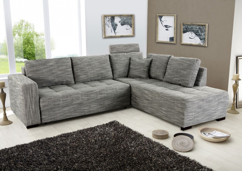 polsterecke aurum grau 267x221cm bettfunktion sofa couch eckcouch wohnbereiche wohnzimmer sofa. Black Bedroom Furniture Sets. Home Design Ideas