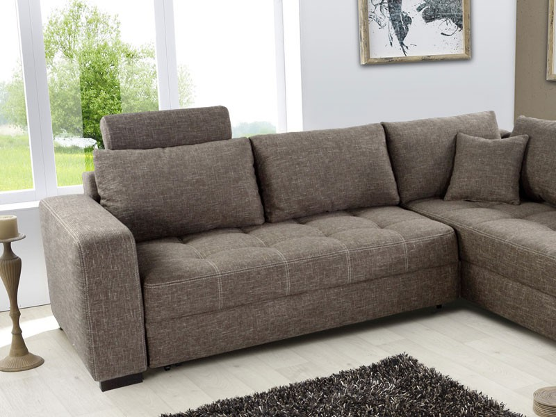 polsterecke aurum braun 267x221cm bettfunktion sofa couch eckcouch wohnzimmer ebay. Black Bedroom Furniture Sets. Home Design Ideas