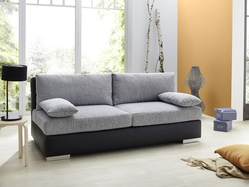 boxspring schlafsofa somerset hellgrau schwarz 202x106cm dauerschl fer wohnbereiche wohnzimmer. Black Bedroom Furniture Sets. Home Design Ideas