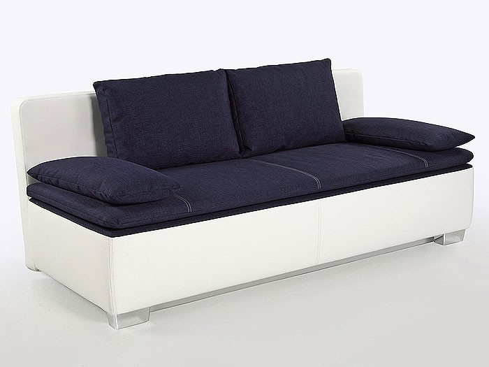 schlafsofa couch duana 202x96cm blau weiss dauerschl fer sofa doppelliege ebay. Black Bedroom Furniture Sets. Home Design Ideas