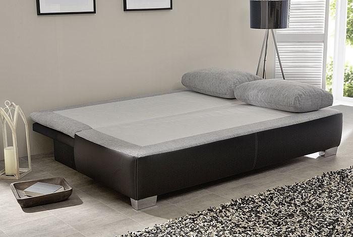 schlafsofa couch duana 202x96cm hellgrau weiss dauerschl fer sofa wohnbereiche wohnzimmer. Black Bedroom Furniture Sets. Home Design Ideas