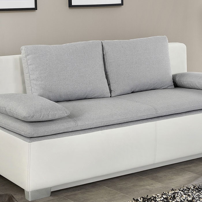 Schlafsofa couch duana 202x96cm hellgrau weiss for Sofa schlafcouch