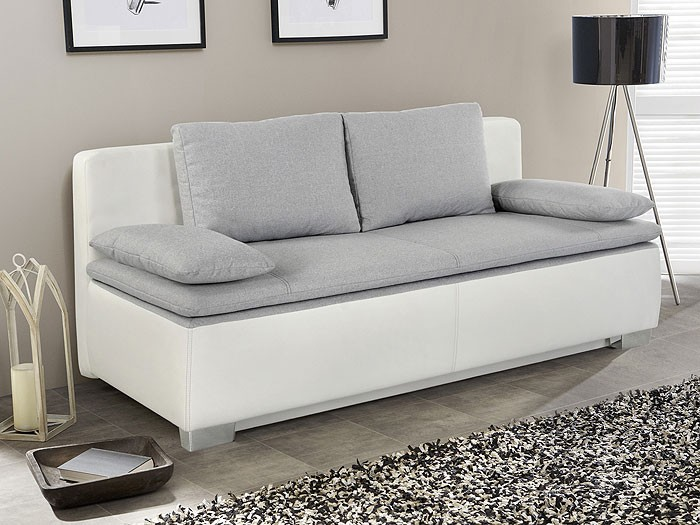 schlafsofa couch duana 202x96cm hellgrau weiss schlafcouch sofa doppelliege ebay. Black Bedroom Furniture Sets. Home Design Ideas