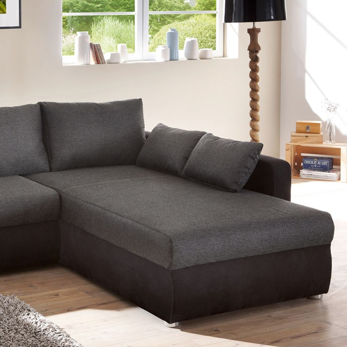 Ecksofa couch tifon 272x200cm schwarz bettfunktion for Couch bettfunktion
