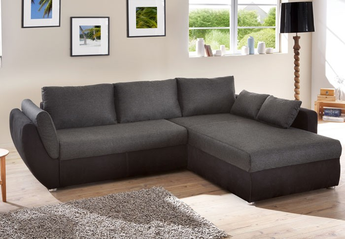 ecksofa couch tifon 272x200cm schwarz bettfunktion polsterecke sofa wohnbereiche wohnzimmer. Black Bedroom Furniture Sets. Home Design Ideas