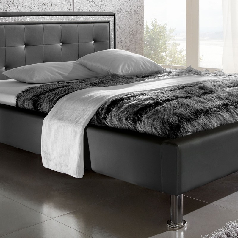bett 140x200 polsterbett schwarz mit strassband jugendbett singlebett dave ebay. Black Bedroom Furniture Sets. Home Design Ideas