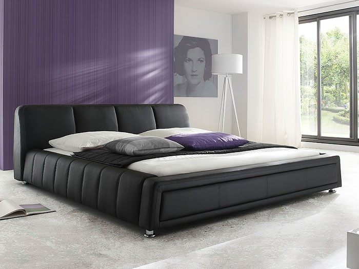 polsterbett schwarz bett 180x200 bettgestell kunstlederbett doppelbett aron ebay. Black Bedroom Furniture Sets. Home Design Ideas