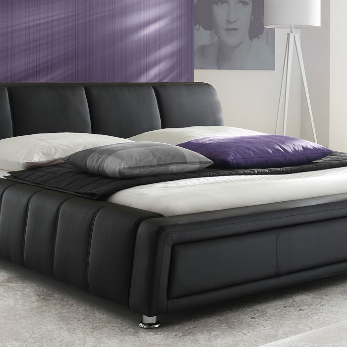 polsterbett komplett aron bett 180x200 schwarz lattenrost matratze wohnbereiche schlafzimmer. Black Bedroom Furniture Sets. Home Design Ideas