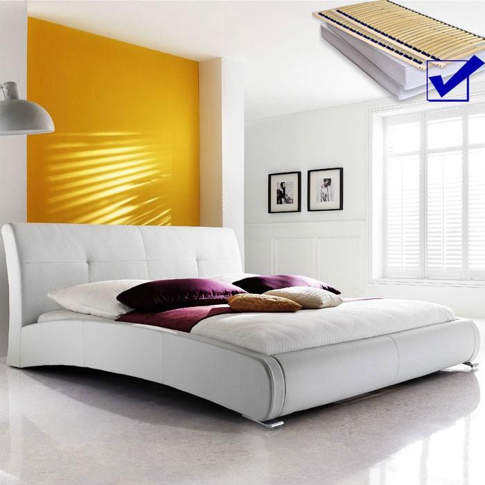 Polsterbett komplett Amadeo Bett 160x200 weiß + Lattenrost ...