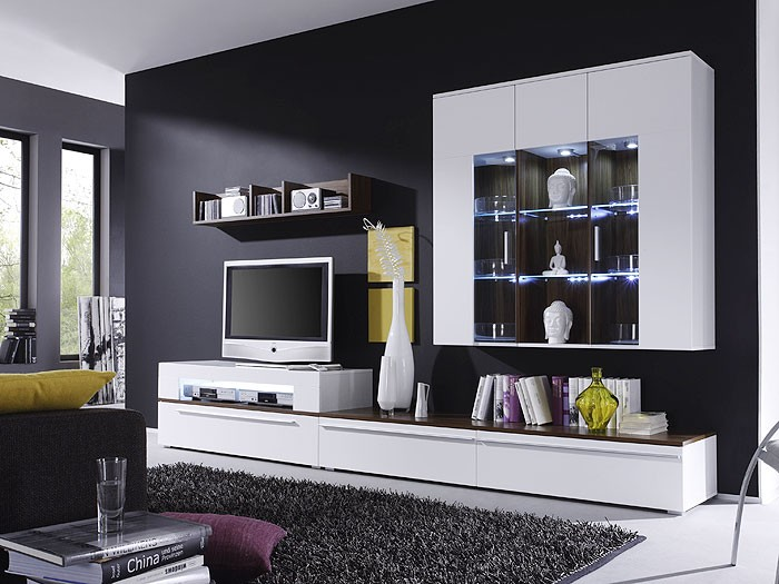 wohnwand criss weiss walnuss 312x190x47 schrankwand wohnzimmerschrank wohnbereiche wohnzimmer. Black Bedroom Furniture Sets. Home Design Ideas