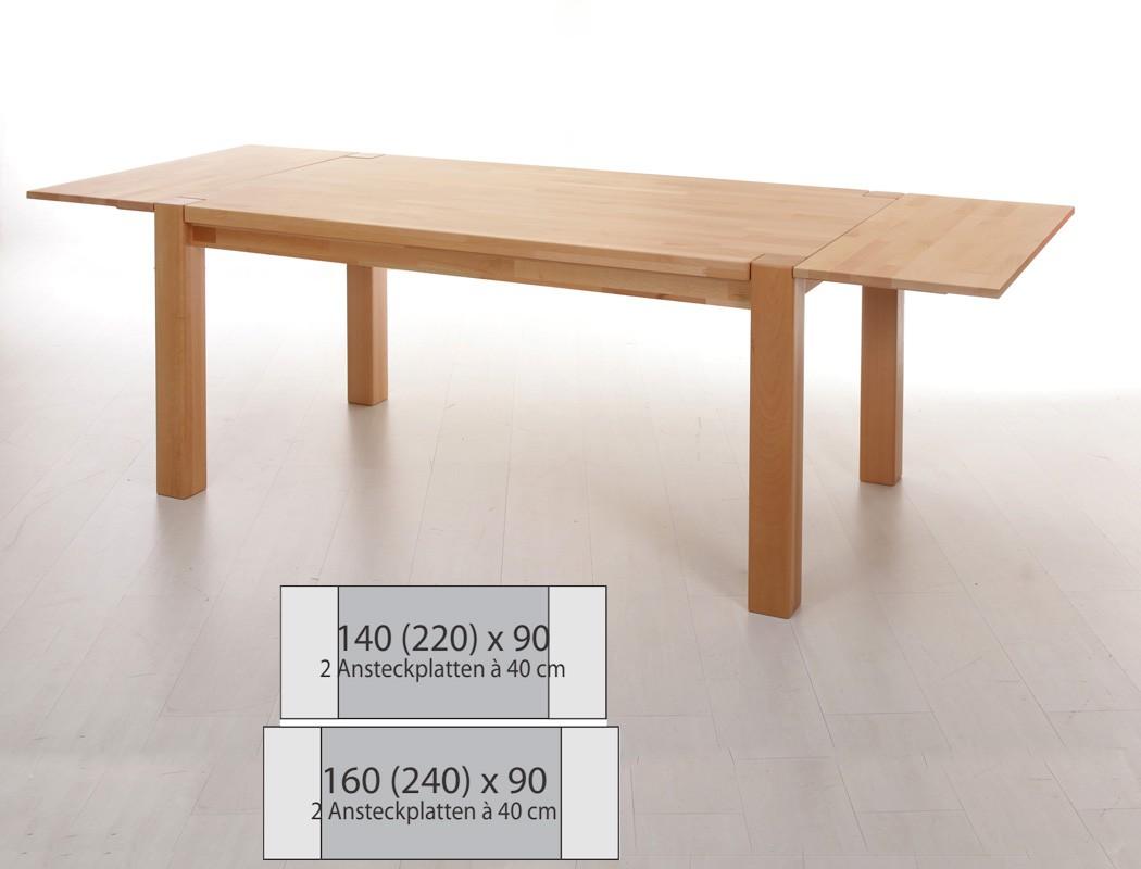 Esstisch tim xl erweiterbar ansteckplatten holztisch for Esstisch erweiterbar