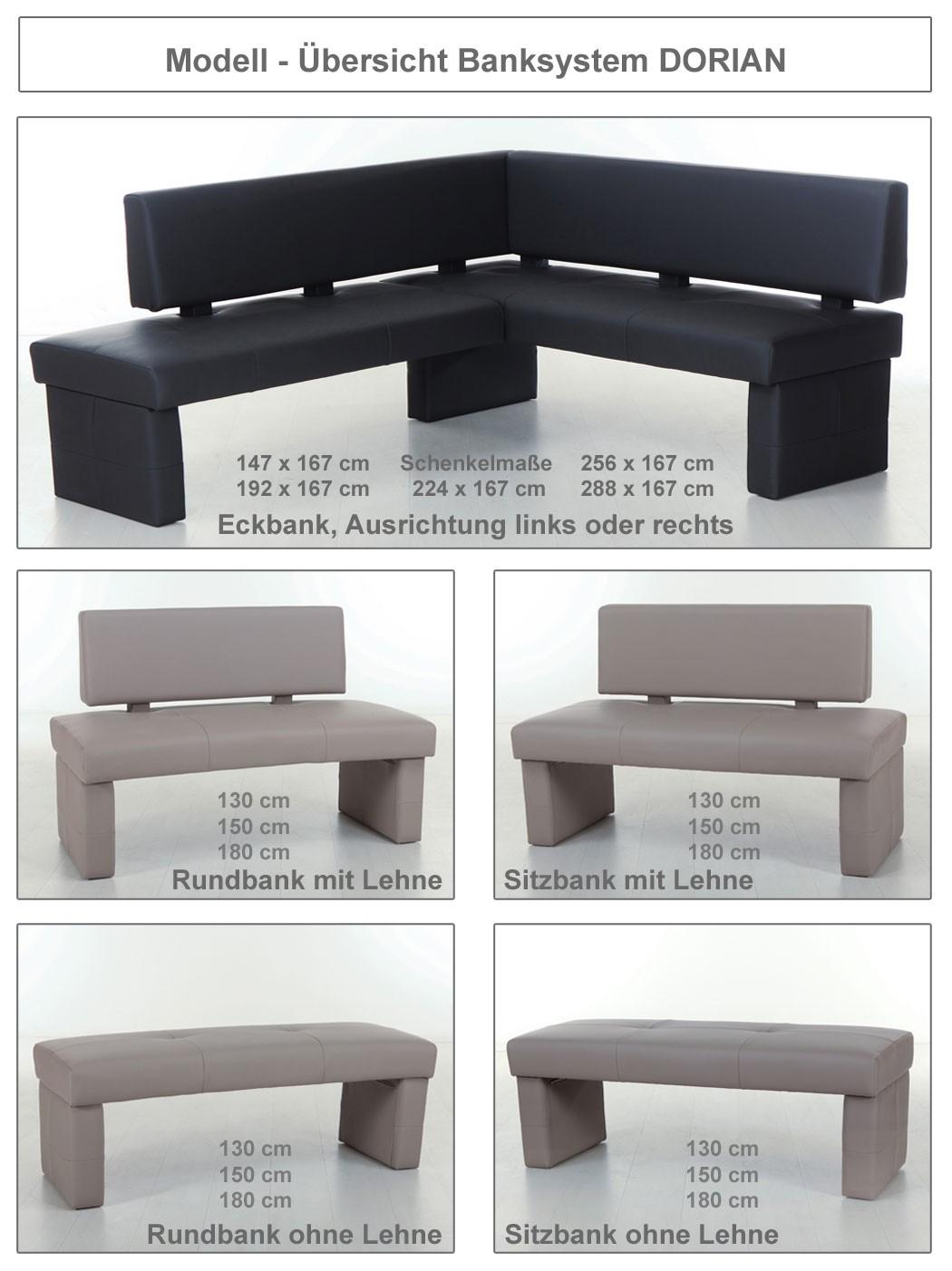 bank dorian mit lehne kunstleder variante 130cm 150cm. Black Bedroom Furniture Sets. Home Design Ideas