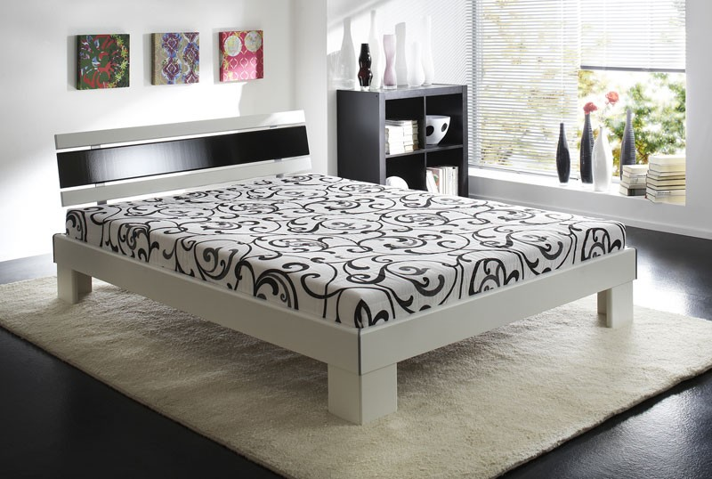 jugendbett ronja 140x200cm weiß schwarz, bett komplett + rost, Hause deko