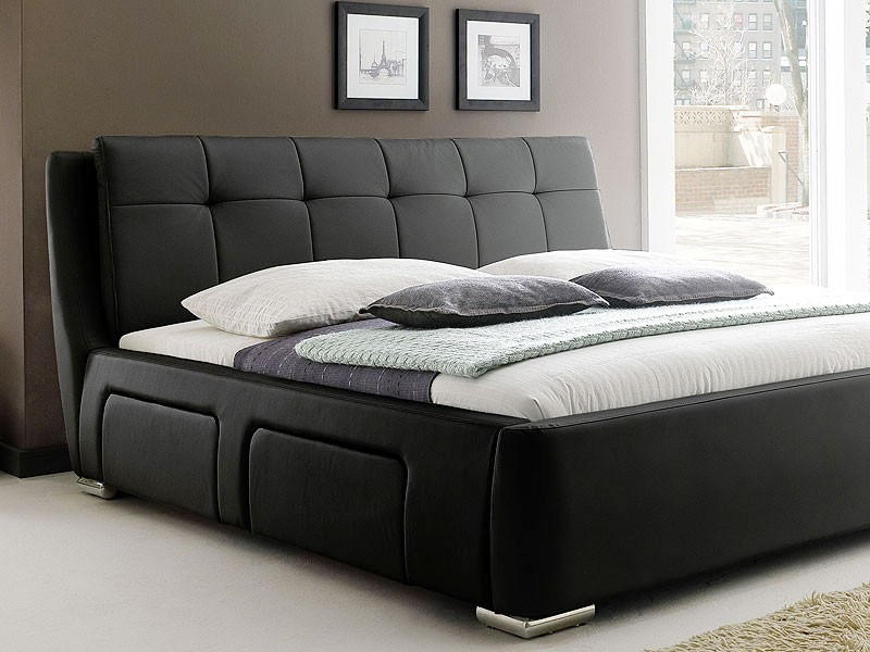 polsterbett alvaro bett 180x200cm schwarz 4 schubkasten doppelbett. Black Bedroom Furniture Sets. Home Design Ideas