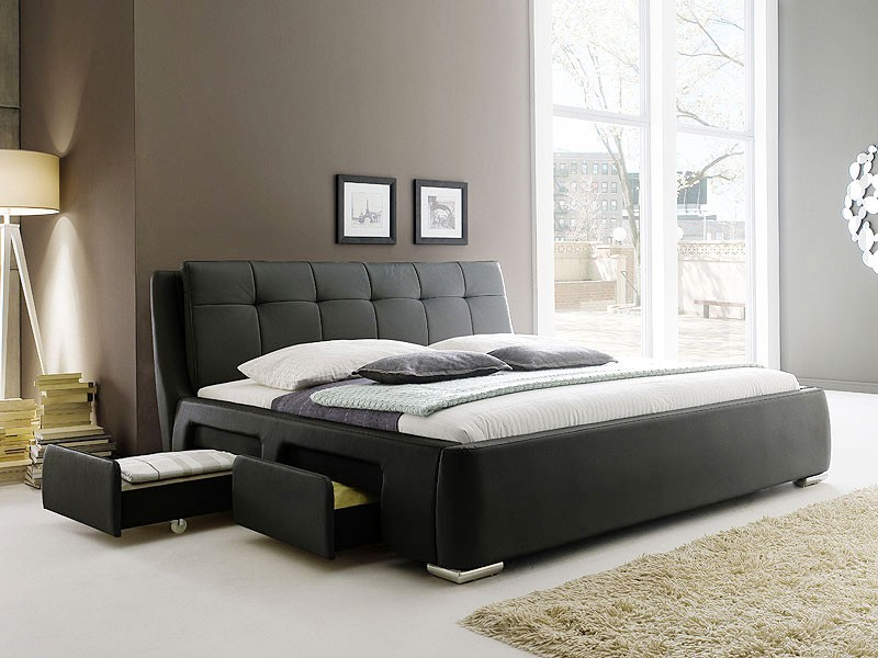 polsterbett schwarz bett 180x200 bettgestell 4x. Black Bedroom Furniture Sets. Home Design Ideas