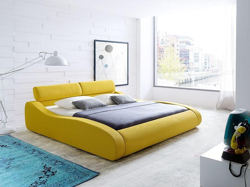 polsterbett artura bett 140x200cm stoff safrangelb singlebett design wohnbereiche schlafzimmer. Black Bedroom Furniture Sets. Home Design Ideas