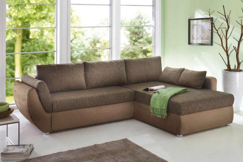 Ecksofa Couch Tifon 272x200cm braun lava Bettfunktion Polsterecke ...