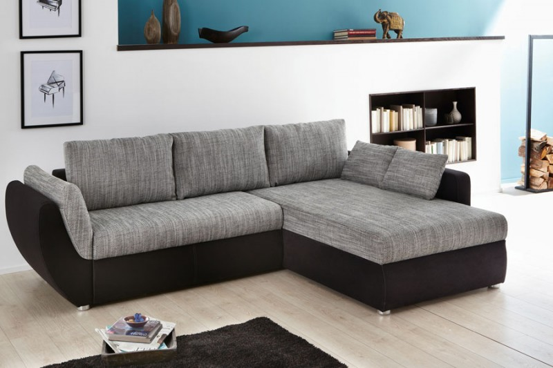 ecksofa couch tifon 272x200cm grau schwarz bettfunktion. Black Bedroom Furniture Sets. Home Design Ideas