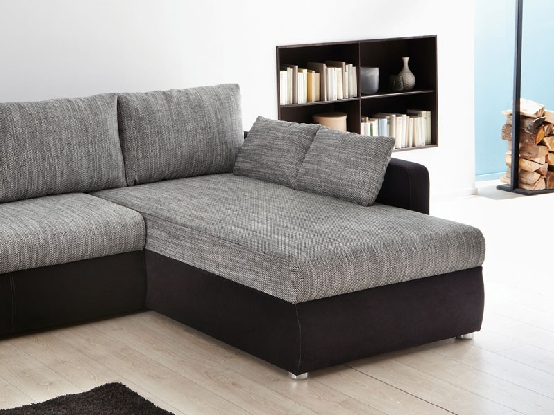 Ecksofa couch tifon 272x200cm grau schwarz bettfunktion for Sofa mit bettfunktion