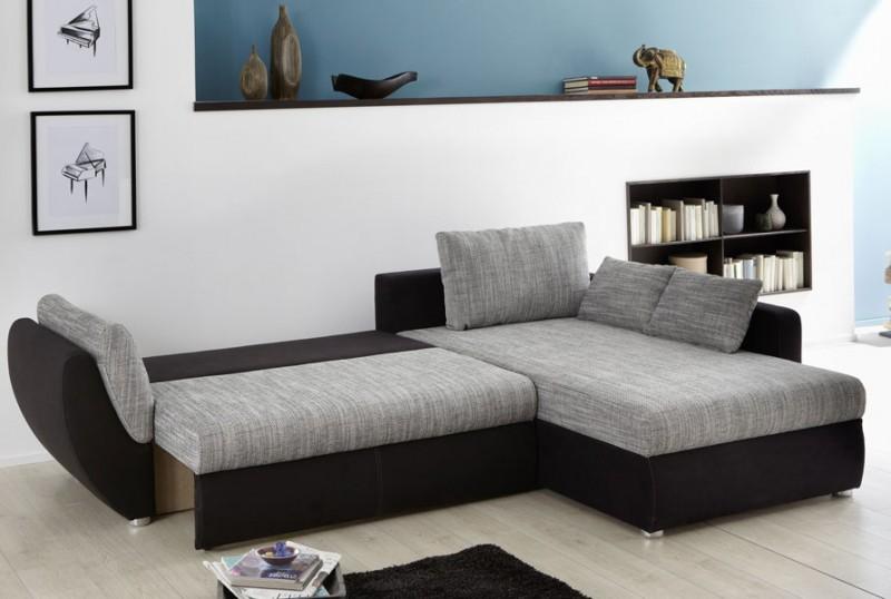 ecksofa couch tifon 272x200cm grau schwarz bettfunktion. Black Bedroom Furniture Sets. Home Design Ideas