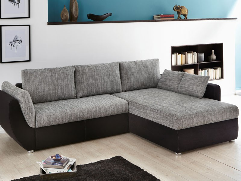 Ecksofa couch tifon 272x200cm grau schwarz bettfunktion for Ecksofa couch