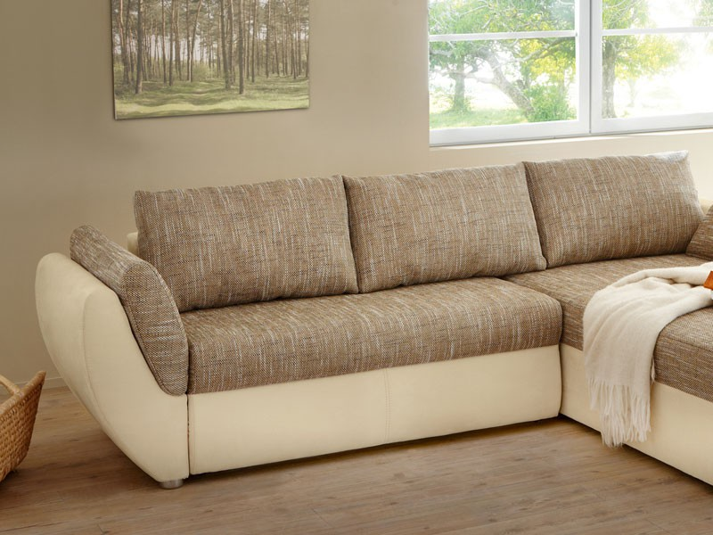 Ecksofa couch tifon 272x200cm hellbraun natur bettfunktion for Ecksofa 300 x 200