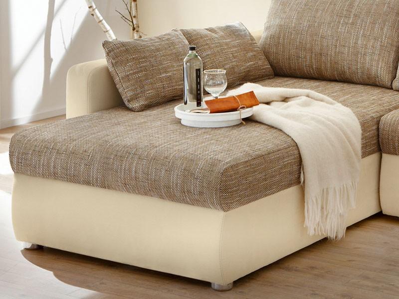 Ecksofa couch tifon 272x200cm hellbraun natur bettfunktion for Couch bettfunktion