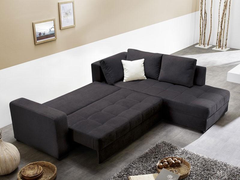 polsterecke aurum 267x221cm mikrofaser schwarz bettfunktion sofa couch wohnbereiche wohnzimmer