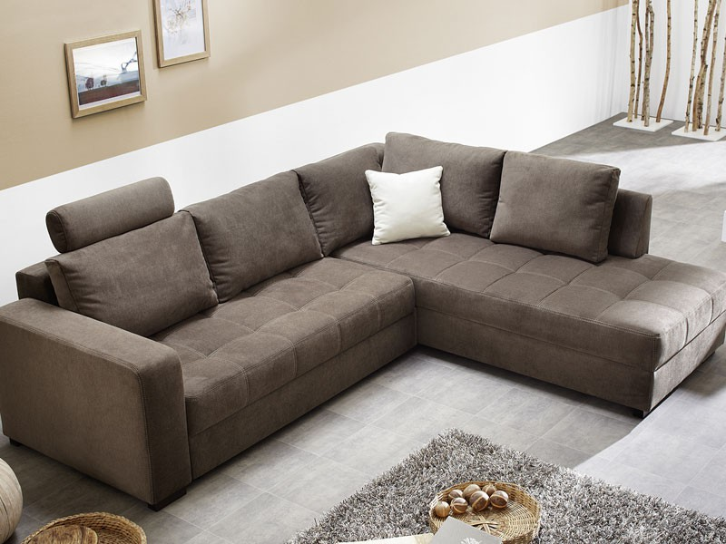 polsterecke aurum 267x221cm mikrofaser braun bettfunktion sofa ... - Wohnzimmer Sofa Braun