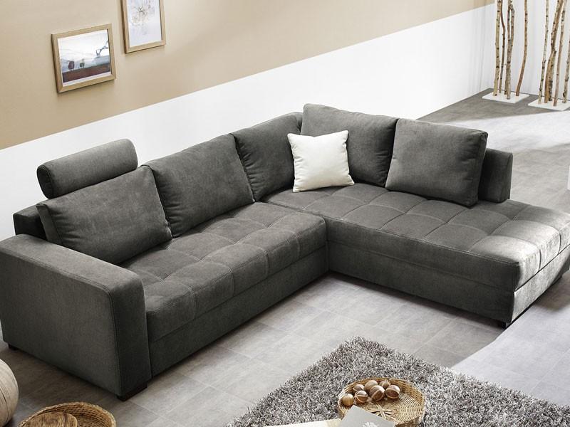 polsterecke aurum grau 267x221cm bettfunktion sofa couch wohnlandschaft. Black Bedroom Furniture Sets. Home Design Ideas