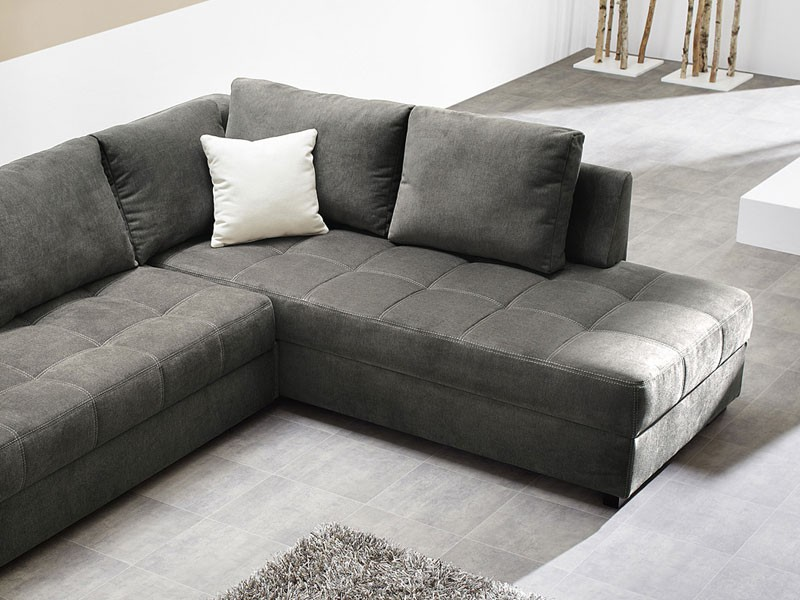 polsterecke aurum 267x221cm mikrofaser grau bettfunktion sofa couch wohnbereiche wohnzimmer sofa. Black Bedroom Furniture Sets. Home Design Ideas