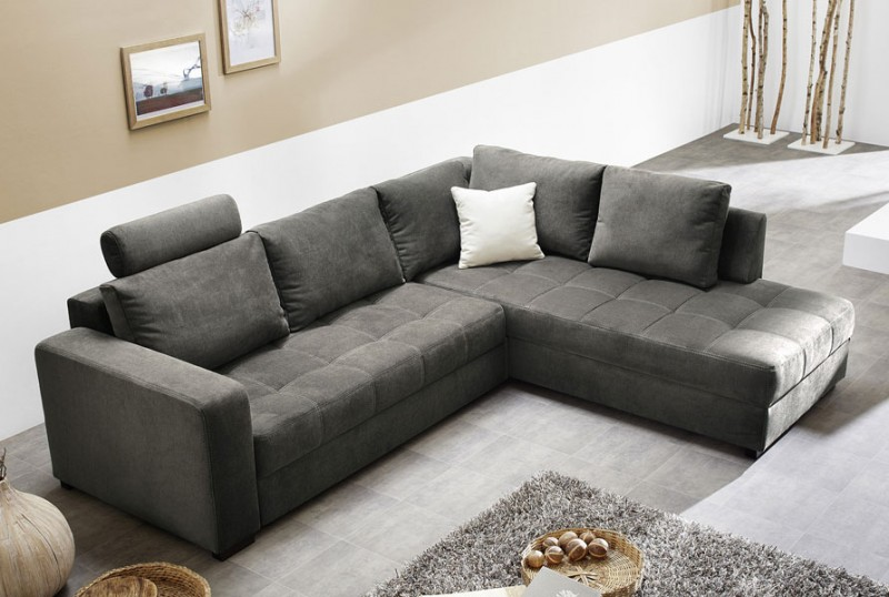 polsterecke aurum grau 267x221cm bettfunktion sofa couch wohnlandschaft ebay. Black Bedroom Furniture Sets. Home Design Ideas