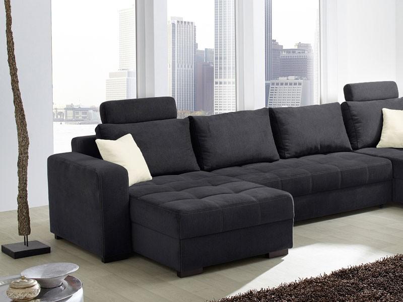 Wohnlandschaft antigua 357x222cm mikrofaser schwarz sofa for Wohnlandschaft nina