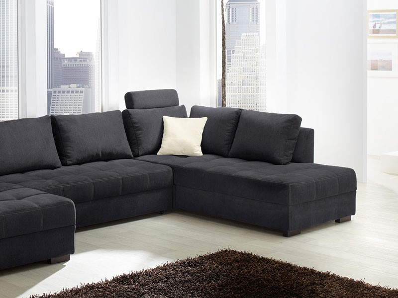 wohnlandschaft antigua 357x222cm mikrofaser schwarz sofa. Black Bedroom Furniture Sets. Home Design Ideas